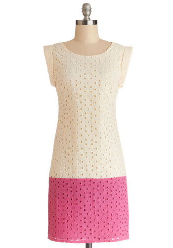 A Welcomed Surprise Dress - Cream, Pink, Eyelet, Daytime Party, Colorblocking, Shift, Sleeveless, Better, Scoop, Cotton, Mid-length