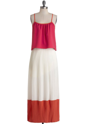 Better in Baja Dress - Pleats, Daytime Party, Colorblocking, Maxi, Spaghetti Straps, Better, Scoop, Woven, Long, Multi, Orange, Pink, White, Tiered, Beach/Resort, Summer
