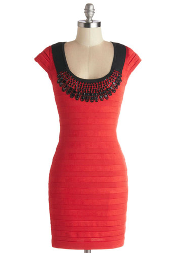 Pump Up the Ballroom Dress - Knit, Red, Black, Beads, Girls Night Out, Bodycon / Bandage, Cap Sleeves, Better, Scoop, Solid, Short