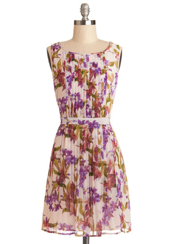 Ring in Spring Dress by Jack by BB Dakota - Floral, Pleats, Daytime Party, Graduation, A-line, Sleeveless, Good, Scoop, Chiffon, Woven, Short, Multi, Purple, White, Spring