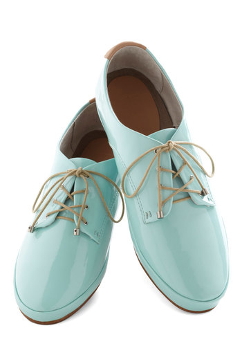Blast of Pastel Flat by Joe's Jeans Footwear - Mint, Solid, Menswear Inspired, Pastel, Flat, Lace Up, Faux Leather, Casual