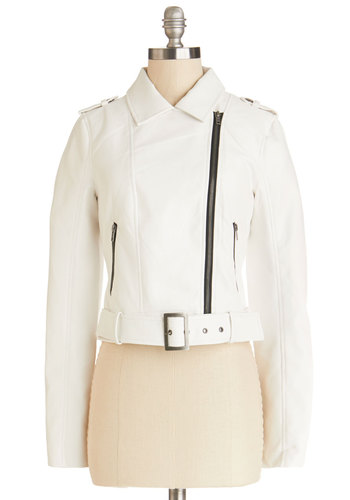 Infuse Some Edge Jacket by Jack by BB Dakota - Short, Faux Leather, 2, White, Solid, Buckles, Epaulets, Exposed zipper, Belted, Casual, Girls Night Out, Vintage Inspired, Urban, Long Sleeve, Good, Collared, White, Long Sleeve, Pockets, 80s, Spring, Winter