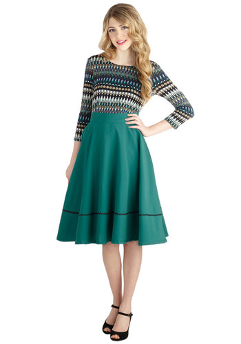 Spontaneous Swing Skirt - Green, Solid, Trim, Pinup, Vintage Inspired, Better, Long, Knit, Green, 60s, Spring, Winter, Full, Work