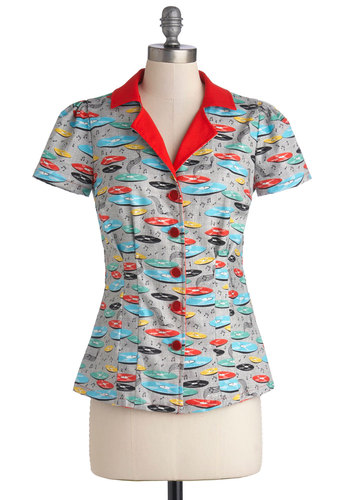 Drive-In Diner Top in Records by Bea & Dot - Multi, Red, Novelty Print, Work, Casual, Rockabilly, Pinup, Vintage Inspired, 50s, Short Sleeves, Exclusives, Private Label, Cotton, Woven, Mid-length, Variation, Collared, Multi, Short Sleeve