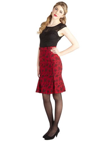 My Flair Lady Skirt - Mid-length, Red, Floral, Buttons, Pleats, Party, Work, Cocktail, Film Noir, Pinup, Vintage Inspired, 40s, 50s, Pencil, Red, Valentine's