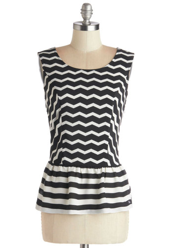 Arts and Craft Beers Top - Black, White, Stripes, Chevron, Sleeveless, Better, Chiffon, Sheer, Woven, Mid-length, Scoop, Black, Sleeveless