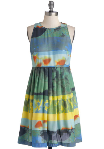 Aquarium Architect Dress by BB Dakota - Print, Pleats, Casual, Quirky, A-line, Sleeveless, Scoop, Sheer, Woven, Multi, Blue, Mid-length, Beach/Resort, Sundress