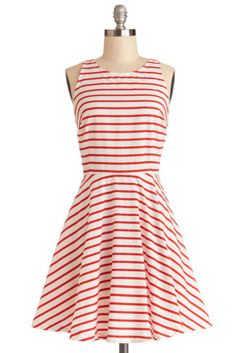 Poppy In for a Visit Dress by BB Dakota - White, Stripes, Cutout, Casual, A-line, Sleeveless, Better, Scoop, Cotton, Woven, Red, Nautical, Beach/Resort, Sundress, Americana, Mid-length