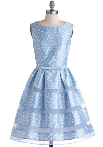Dinner Party Darling Dress in Blue Bubbles - Blue, White, Polka Dots, Bows, Wedding, A-line, Sleeveless, Better, Scoop, Woven, Bridesmaid, Party, Fit & Flare, Variation, Prom, Pastel, Spring