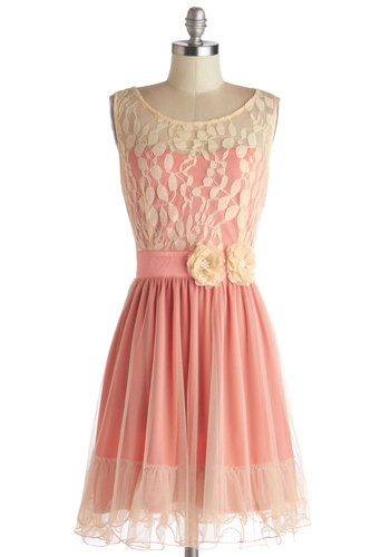 Home Sweet Scone Dress in Rose by Ryu - Tan / Cream, Flower, Lace, Ruffles, Party, Sleeveless, Better, Scoop, Sheer, Knit, Mid-length, Coral, Wedding, Bridesmaid, Valentine's, Prom, Fit & Flare