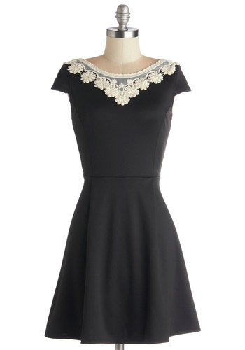 Akin to Audrey Dress in Black - Black, Tan / Cream, Solid, A-line, Knit, Crochet, Pearls, Rhinestones, Party, Cap Sleeves, Short, Full-Size Run