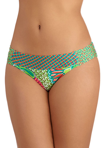 Heavenly Anemone Swimsuit Bottom - Knit, Novelty Print, Safari, Summer, Beach/Resort, Multi, Green, Festival