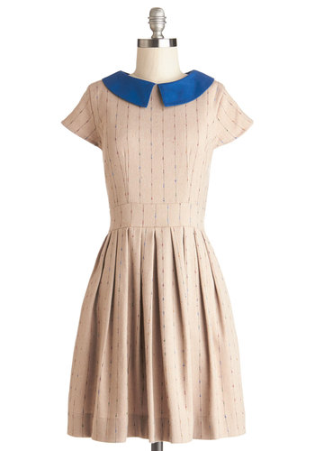 Taking the Train Dress by Myrtlewood - Private Label, Tan, Blue, Pleats, Pockets, Casual, A-line, Cap Sleeves, Better, Collared, Exclusives, Woven, Show On Featured Sale, Mid-length