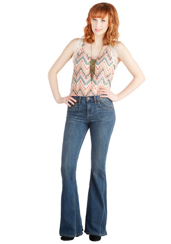 So Very Stylish Jeans by Dittos - Long, Blue, Solid, Pockets, Boho, Vintage Inspired, 70s, Denim, Flare / Bell Bottom, Best, Mid-Rise, Full length, Blue, Medium Wash, Denim, Festival