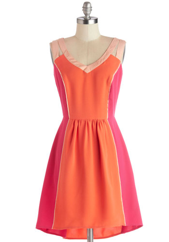Bright Talent Dress - Orange, Pink, Trim, Casual, Colorblocking, A-line, Sleeveless, Better, V Neck, Woven, Short