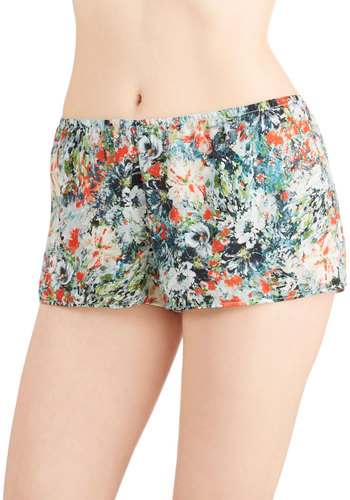Impressionist Expression Sleep Shorts by Only Hearts - Woven, Green, Beach/Resort, Valentine's, Multi, Floral