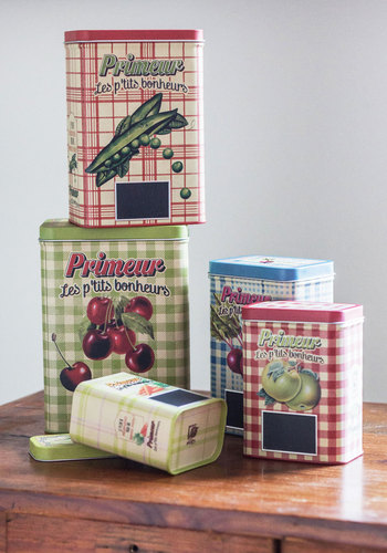 The Goods Life Canister Set - Multi, Checkered / Gingham, Vintage Inspired, Fruits, Novelty Print, Mid-Century, Wedding, Summer, Americana