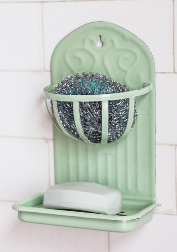 Charmed with Chores Soap Dish - Vintage Inspired, Good, Mint, Solid, Pastel