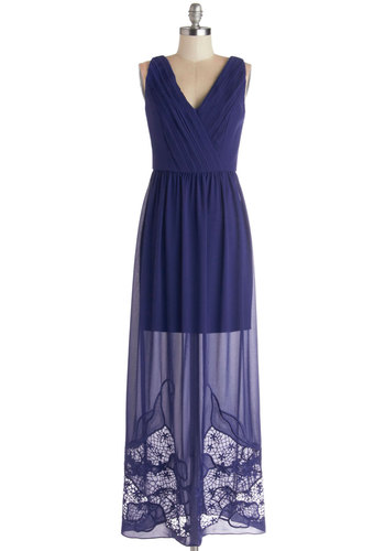Elegance in Indigo Dress - Chiffon, Woven, Sheer, Long, Blue, Solid, Embroidery, Casual, Maxi, Sleeveless, Better, V Neck, Beach/Resort