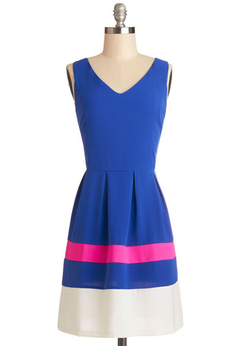 Bright Around the Block Dress - Woven, Mid-length, Blue, Pink, White, Pleats, Casual, A-line, Sleeveless, Better, V Neck, Colorblocking