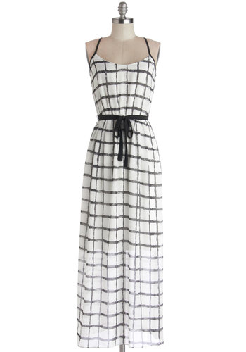 All in a Day's Framework Dress - Checkered / Gingham, Belted, Casual, Maxi, Spaghetti Straps, Good, Scoop, Sheer, Woven, Long, Black, White