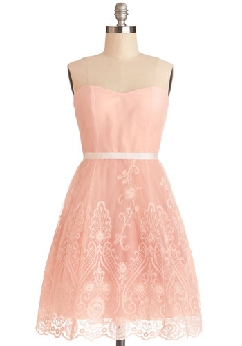 Fancy Free-Spirited Dress - Pink, Embroidery, Scallops, Belted, Special Occasion, Prom, A-line, Strapless, Better, Sweetheart, Knit, Mid-length, Bridesmaid, Pastel