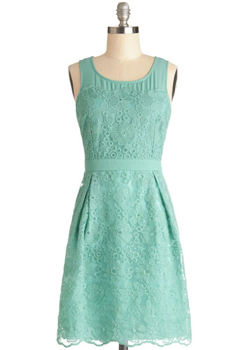 Sprigs of Spring Dress - Sheer, Woven, Mid-length, Mint, Solid, Embroidery, Wedding, Daytime Party, Bridesmaid, Shift, Tank top (2 thick straps), Good, Scoop, Spring, Capri