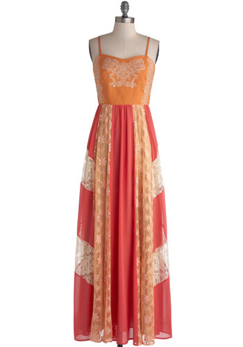 Boho Bridal Shower Dress - Embroidery, Lace, Casual, Colorblocking, Maxi, Spaghetti Straps, Better, V Neck, Chiffon, Woven, Sheer, Long, Orange, Pink, Spring, Lace, Boho, Sundress, Festival