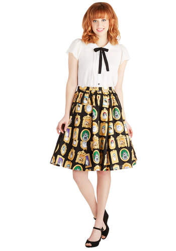 Pretty as a Purr-trait Skirt by Bea & Dot - Cotton, Woven, Mid-length, Multi, Print with Animals, Pockets, Quirky, Cats, A-line, Exclusives, Private Label, Black, Statement