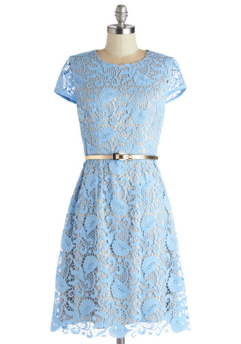 Tasteful Transition Dress - Cotton, Sheer, Knit, Woven, Blue, Grey, Lace, Belted, A-line, Cap Sleeves, Better, Wedding, Bridesmaid, Daytime Party, Pastel, Graduation, Spring, Lace