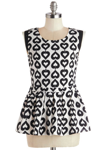 Spade with Love Top - Chiffon, Sheer, Woven, Mid-length, Multi, Black, White, Work, Peplum, Sleeveless, Better, Multi, Sleeveless, Novelty Print, Pleats, Valentine's