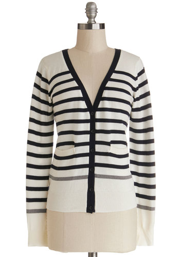For the Win Cardigan - Knit, Nautical, White, Black, Stripes, Buttons, Casual, Long Sleeve, White, Long Sleeve, Good, Pockets, V Neck, Mid-length, Beach/Resort