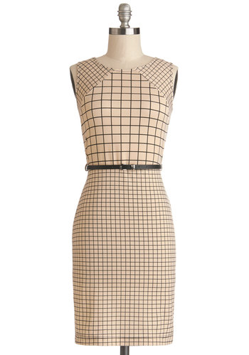 Flair and Square Dress - Knit, Mid-length, Tan, Black, Print, Belted, Work, Shift, Sleeveless, Good