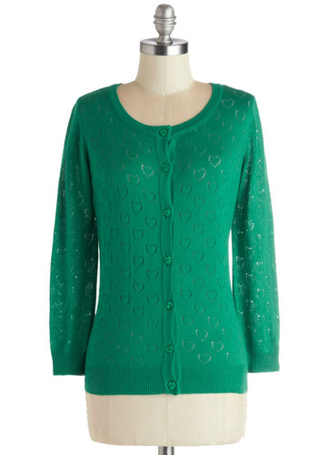 Less is Amour Cardigan in Emerald - Sheer, Knit, Short, Green, Solid, Buttons, Casual, Long Sleeve, Good, Green, Long Sleeve, Variation