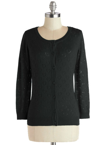 Less is Amour Cardigan in Noir - Sheer, Knit, Short, Black, Solid, Buttons, Long Sleeve, Variation, Black, Long Sleeve, Good