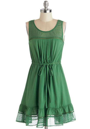 Clover and Over Dress - Sheer, Knit, Woven, Short, Green, Solid, Ruffles, Casual, A-line, Tank top (2 thick straps), Good, Scoop, Lace