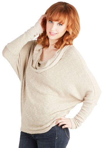 Grading Papers Sweater - Sheer, Knit, Mid-length, Tan, Solid, Casual, Long Sleeve, Spring, Better, Cowl, Brown, Long Sleeve