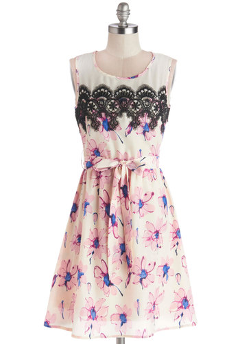 Always Drawing Attention Dress - Sheer, Woven, Mid-length, Pink, Black, White, Floral, Lace, Belted, Daytime Party, A-line, Sleeveless, Good, Scoop, Spring