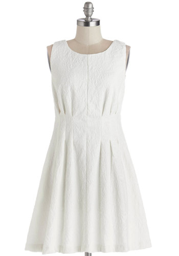 Best Aspirations Dress - Woven, Mid-length, White, Solid, Wedding, Party, Bride, A-line, Sleeveless, Better, Scoop