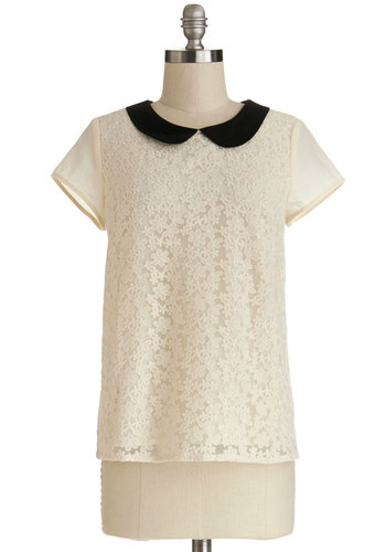 Bakery Bash Top - Cotton, Sheer, Woven, Mid-length, Cream, Black, Solid, Embroidery, Peter Pan Collar, Work, Daytime Party, Short Sleeves, White, Short Sleeve