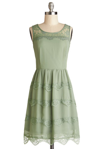 Eucalyptus Grove Dress - Woven, Sheer, Mid-length, Green, Solid, Lace, Tiered, Casual, A-line, Tank top (2 thick straps), Good, Scoop, Scallops, Spring, Lace