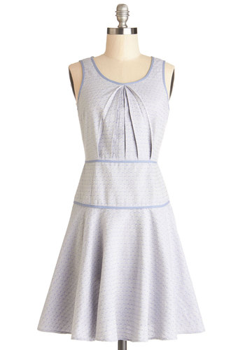 Cartographer's Dream Dress - Cotton, Woven, Mid-length, Blue, Print, Casual, A-line, Tank top (2 thick straps), Good, Scoop, Pleats, Pastel, Spring