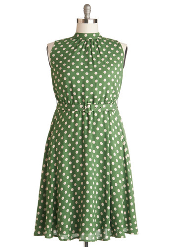 Visual Visionary Dress in Plus Size - Woven, Green, Polka Dots, Pockets, Belted, Casual, A-line, Sleeveless, Better, Tan / Cream
