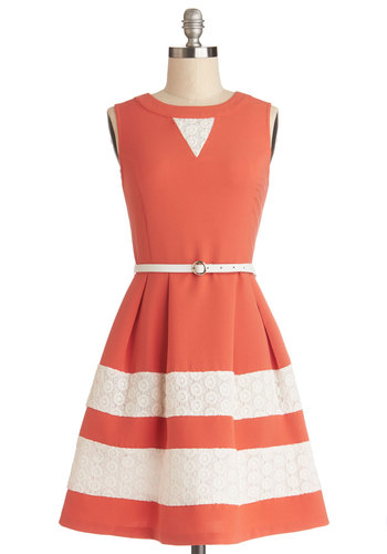 Vote of Confidence Dress - Tan / Cream, Eyelet, Pleats, Trim, Belted, Daytime Party, A-line, Sleeveless, Better, Mid-length, Coral, Exposed zipper, Fit & Flare, Spring