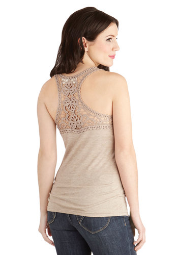 Poet To Be True Top in Beige - Sheer, Knit, Mid-length, Tan, Solid, Crochet, Casual, Good, Brown, Sleeveless, Variation, Racerback, Scoop, Festival, Spring, Summer, Top Rated, Boho