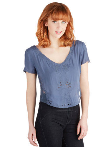 Afternoon Aria Top - Sheer, Woven, Short, Blue, Solid, Short Sleeves, Better, Blue, Short Sleeve, Cutout, Casual, Boho, Festival, Cropped, Spring, Summer