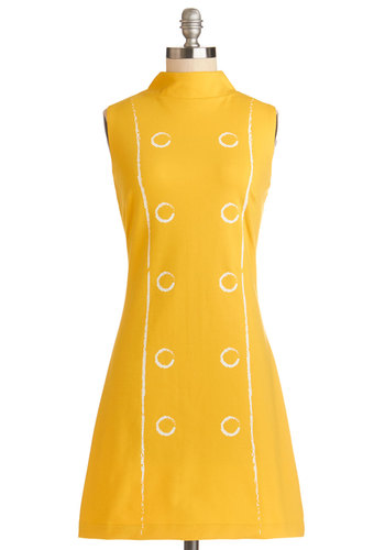 Leeds Time Dress - Knit, Yellow, White, Casual, Shift, Sleeveless, Better, Novelty Print, Vintage Inspired, 60s, Mod, Exclusives, Statement, Show On Featured Sale, Mid-length