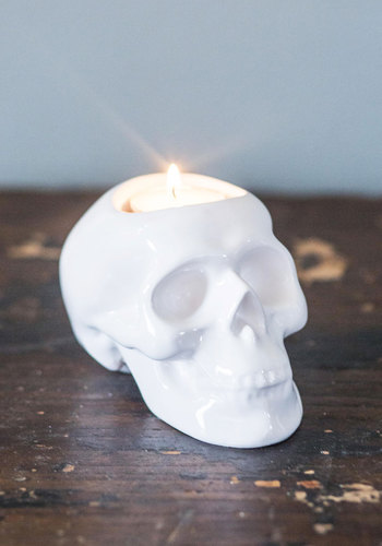 The More You Glow Candle Holder - White, Skulls, Good, Solid, Halloween