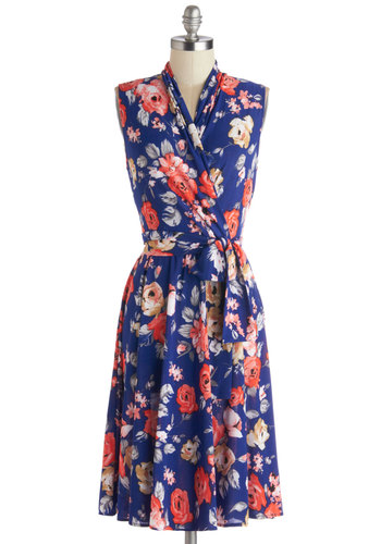 Paris? Oui! Dress in Bleu - Knit, Blue, Multi, Floral, Belted, Wrap, Sleeveless, Better, Graduation, Daytime Party, Long