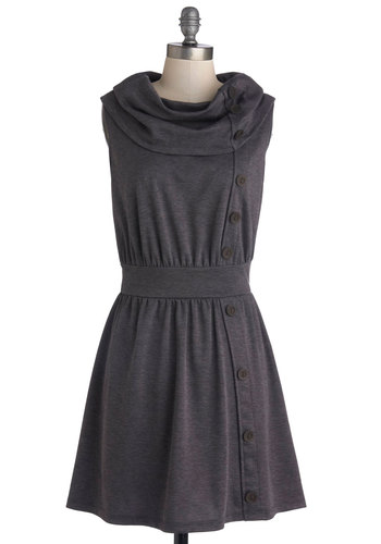 Tricks of the Trade Show Dress - Grey, Solid, Buttons, Casual, A-line, Sleeveless, Cowl, Vintage Inspired, Work, Basic, Exclusives, Short, Knit